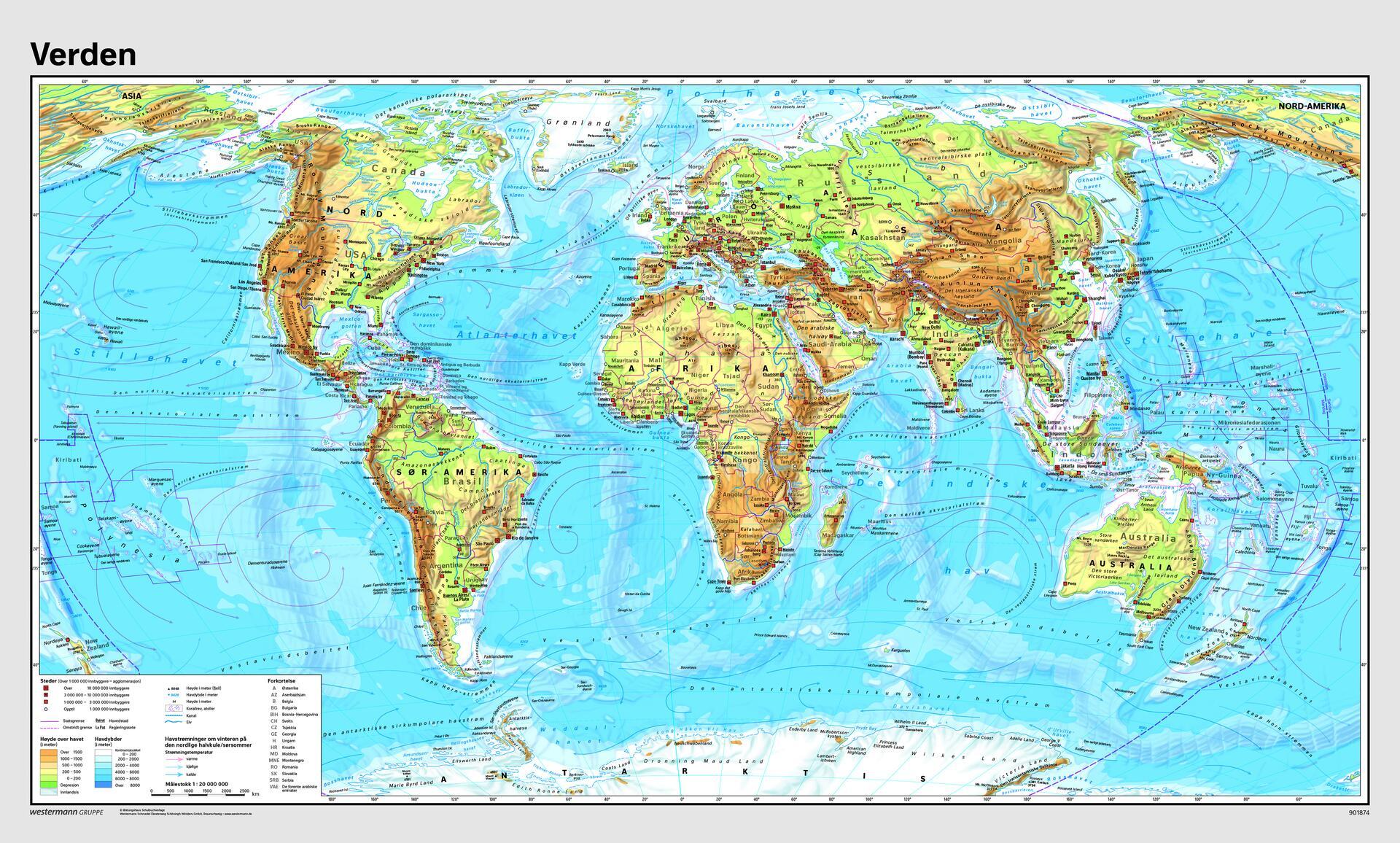 verdens kart Verdenskart m/selvløftende stokk og snor   Lekolar Norge verdens kart